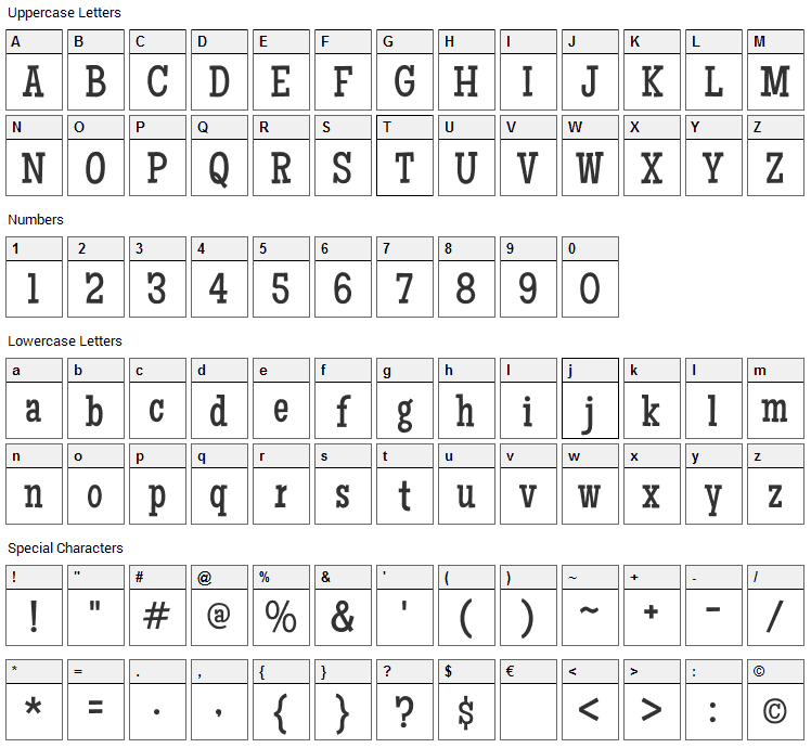 Maiden Orange Font Character Map
