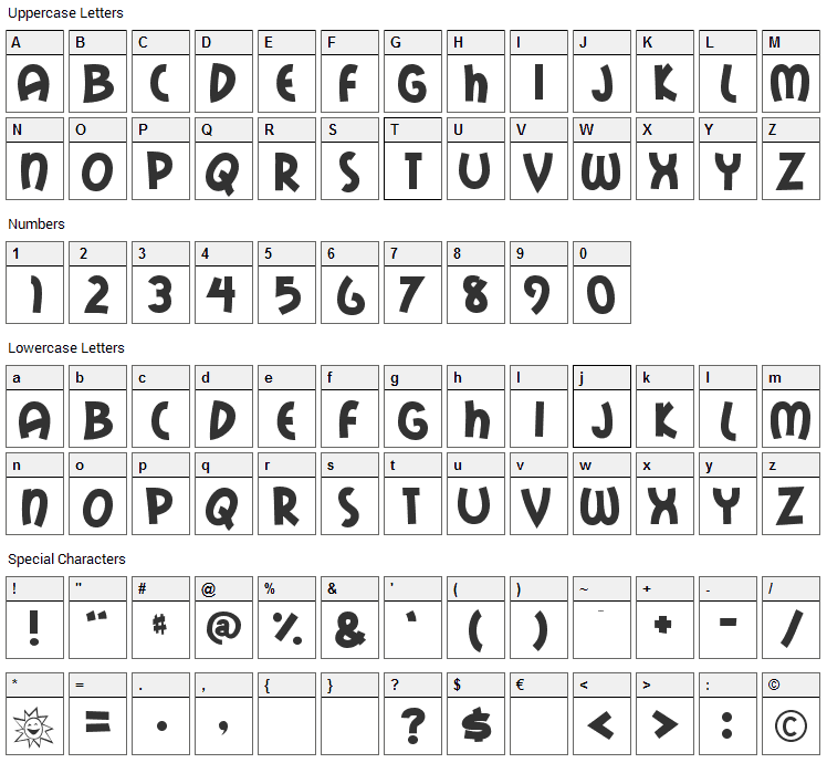 Mail Ray Stuff Font Character Map