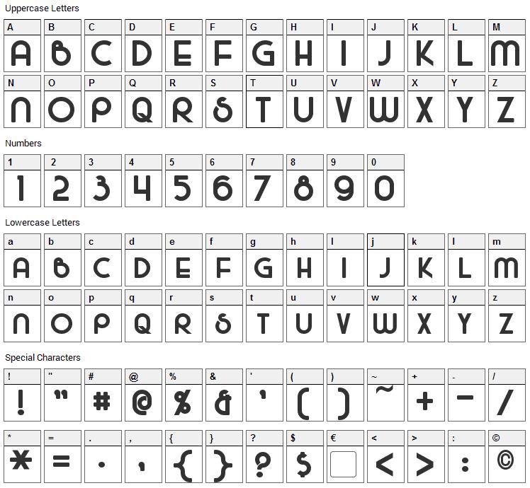 Majel Font Character Map