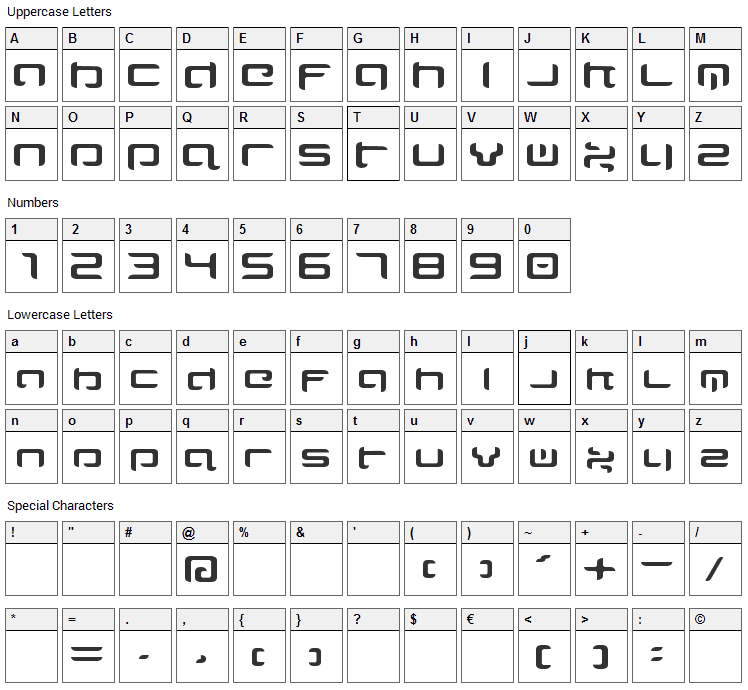 Majispirit Font Character Map