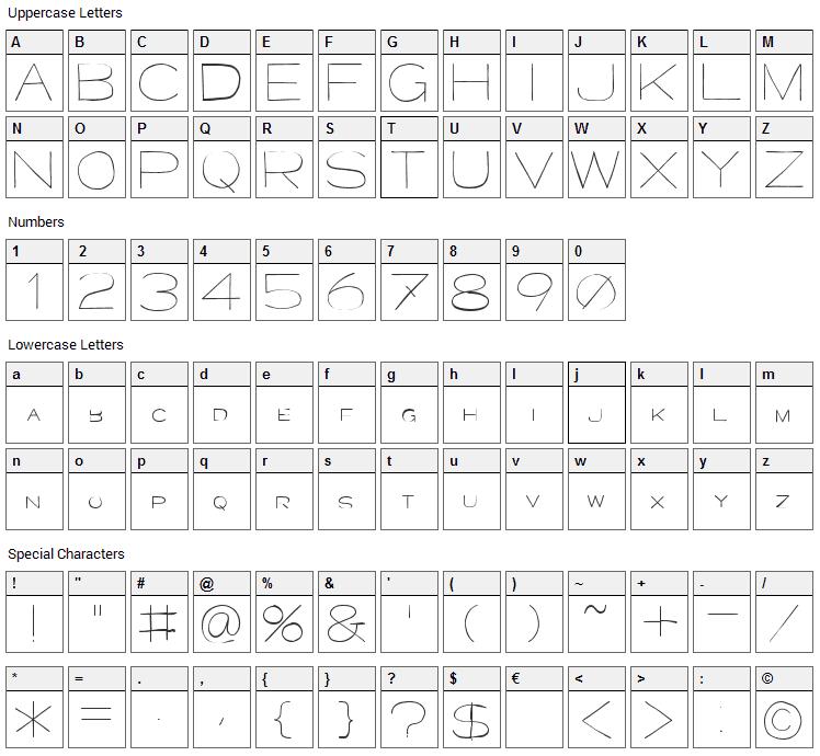 Major Kong Font Character Map