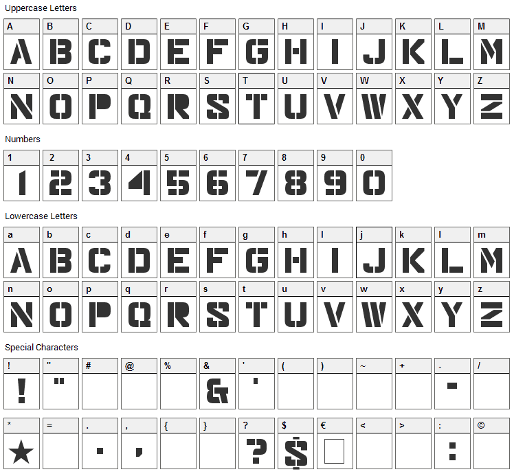 Major Snafu Font Character Map