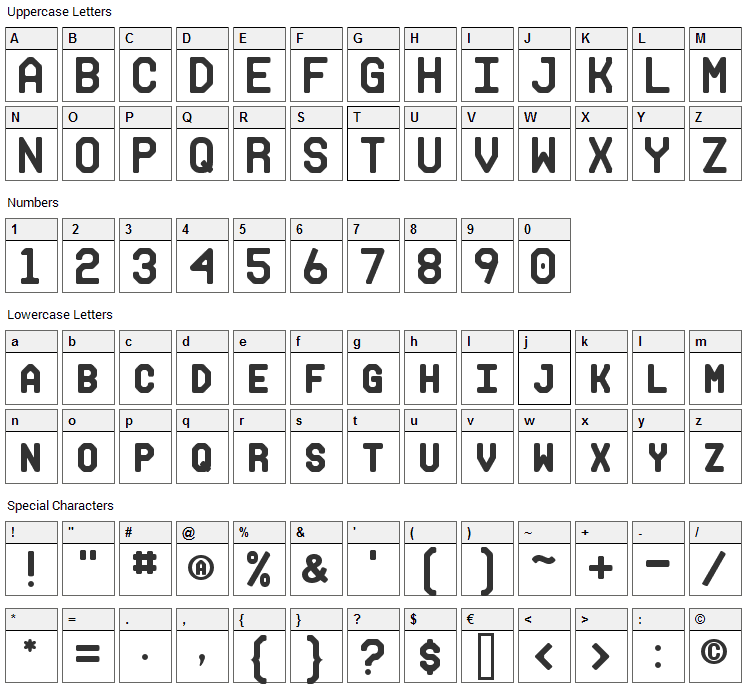 Makisupa Font Character Map