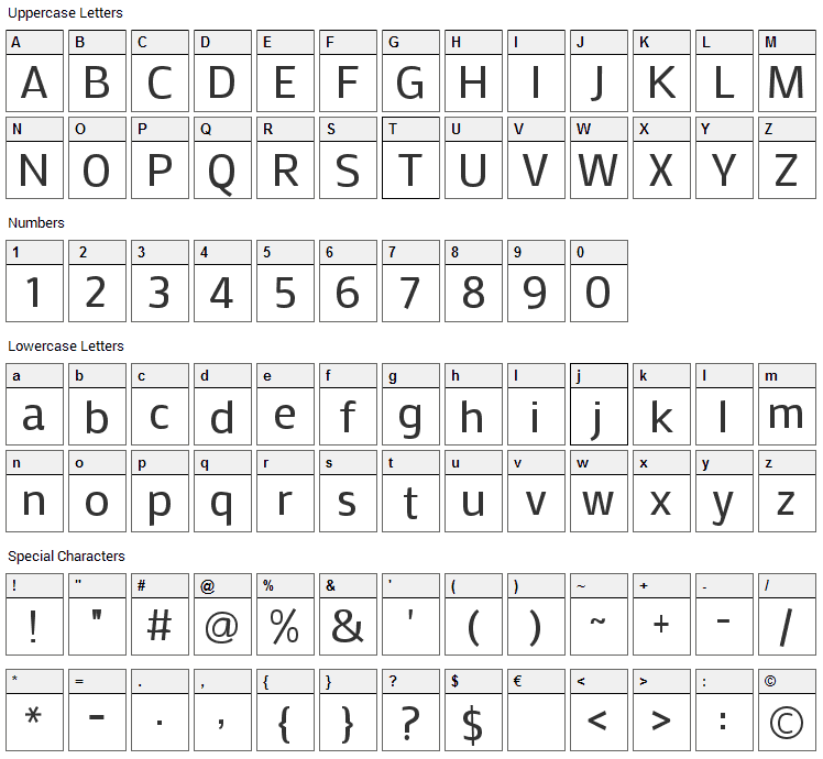 Mako Font Character Map