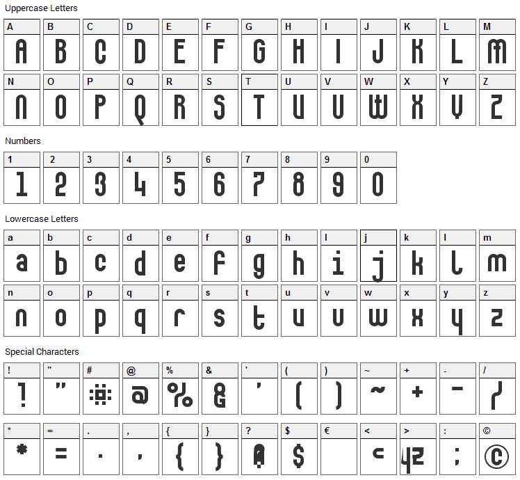 Makushka Font Character Map