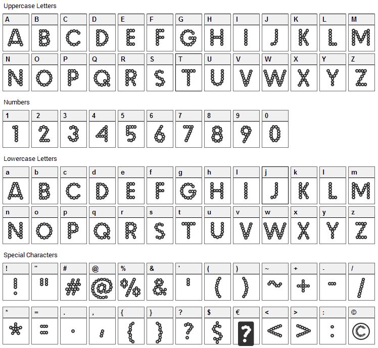 Malache Crunch Font Character Map