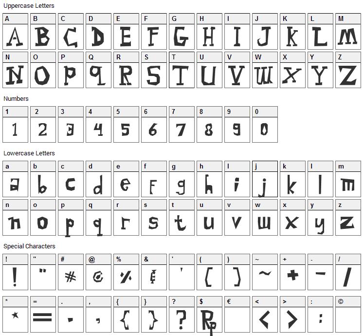 Malingsia Font Character Map