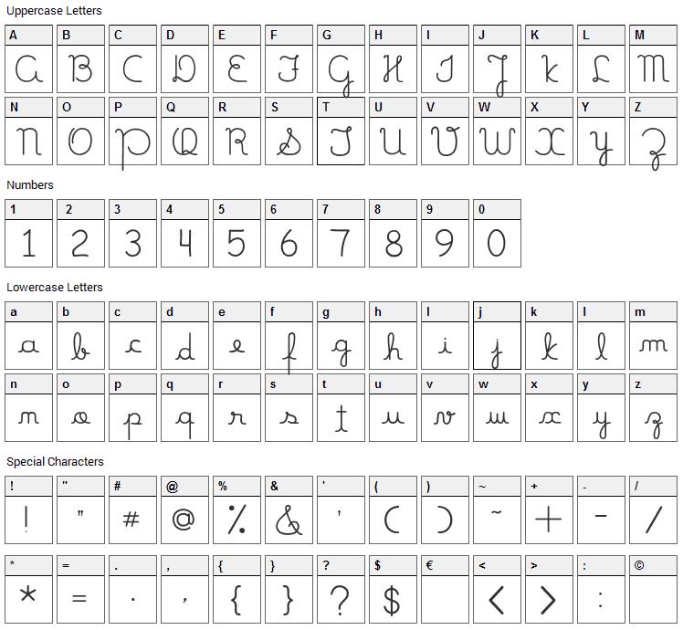 Mamae Que Nos Faz Font Character Map