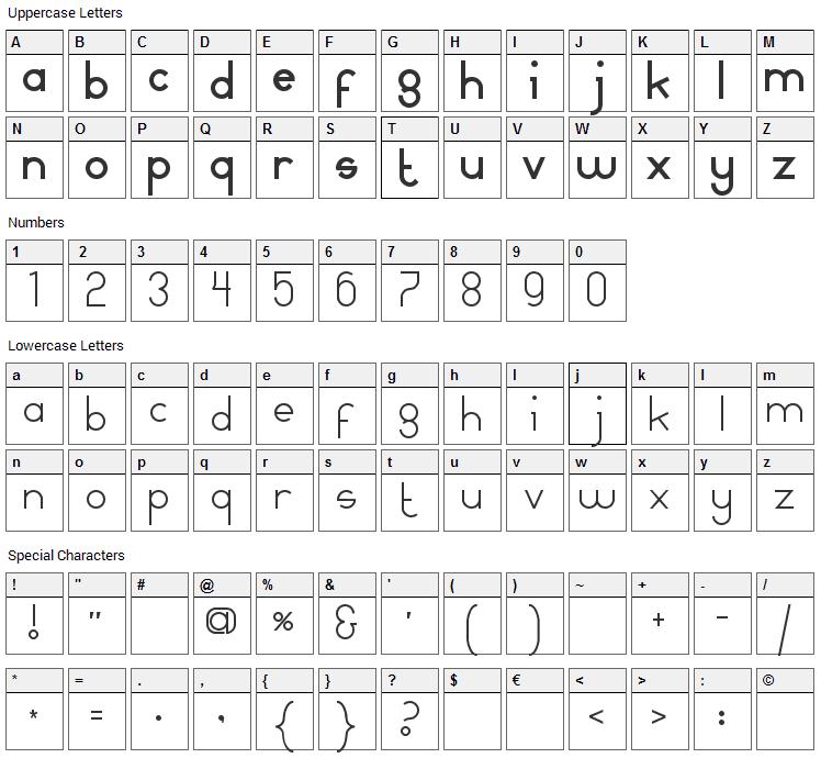 Mamma Gamma Font Character Map