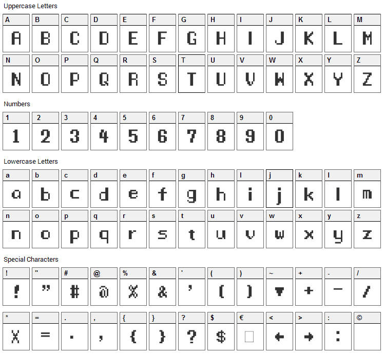 Manaspace Font Character Map