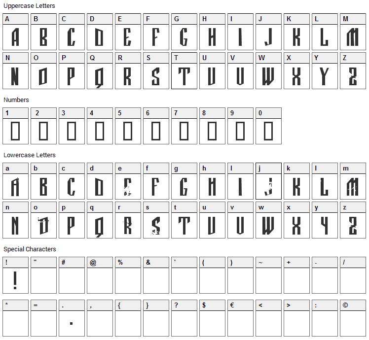 Manastirka Font Character Map