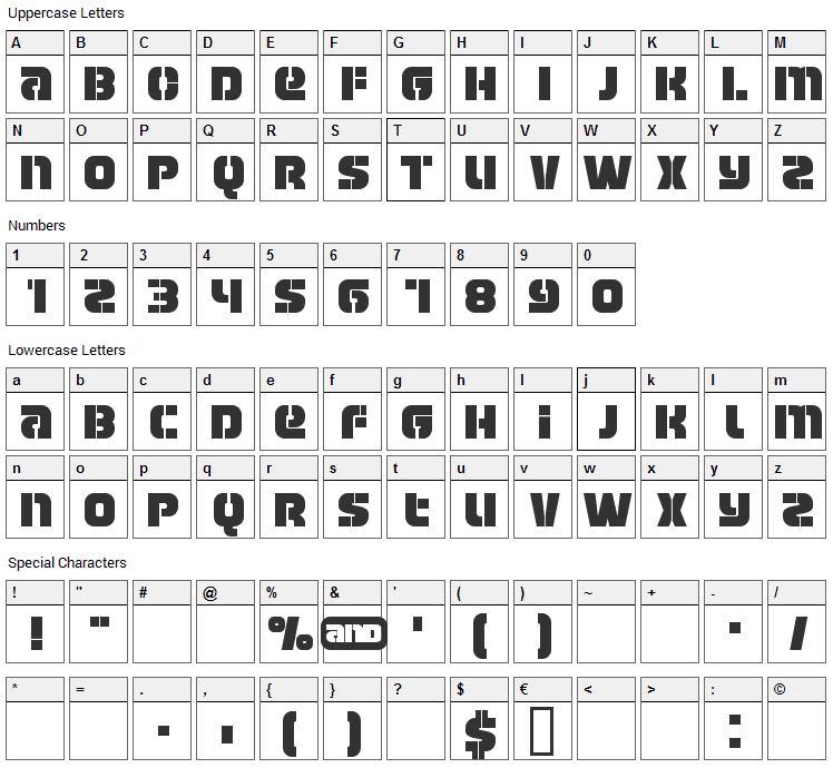 Manchester Font Character Map