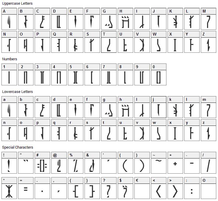 Mandalorian Font Character Map