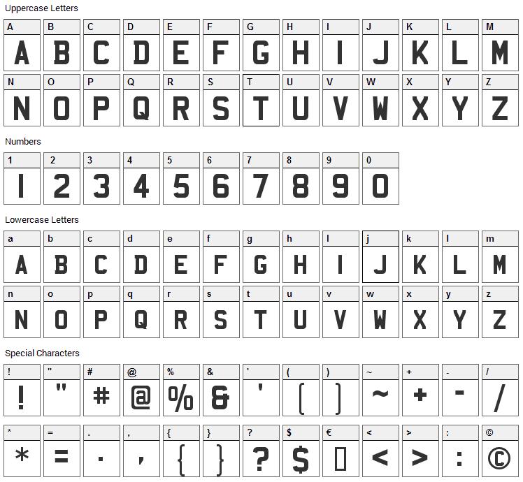 Mandatory Font Character Map