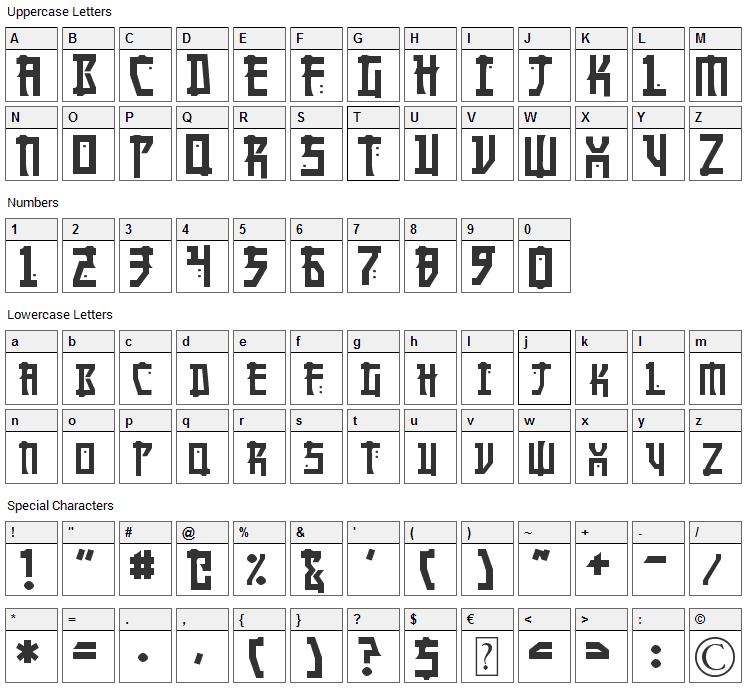 Manga Font Character Map