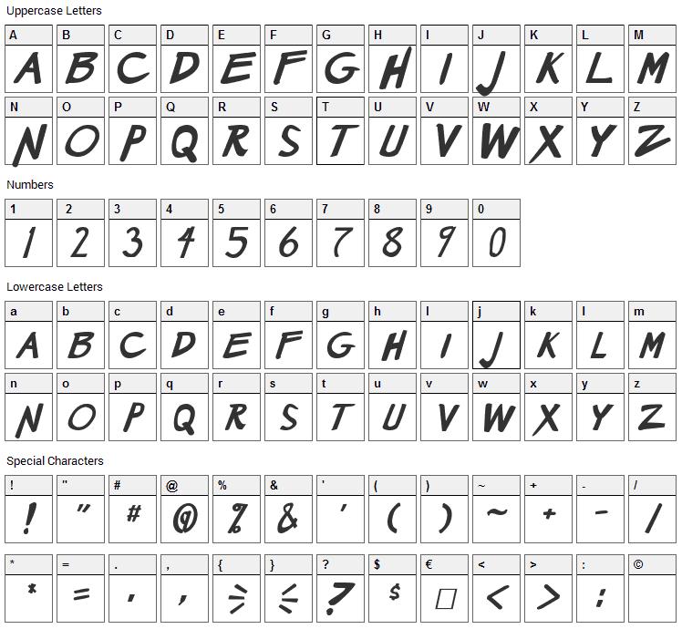 Manga Speak 2 Font Character Map