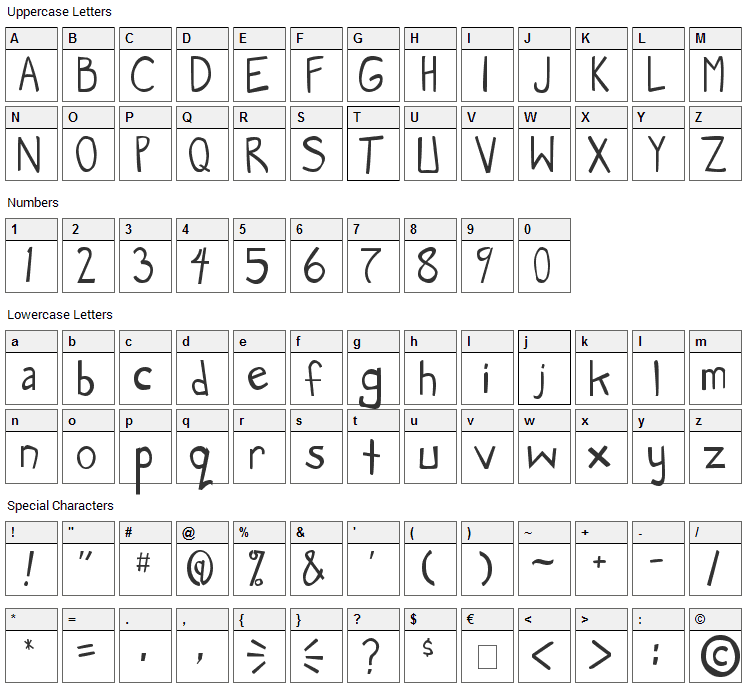 Manga Speak Font Character Map