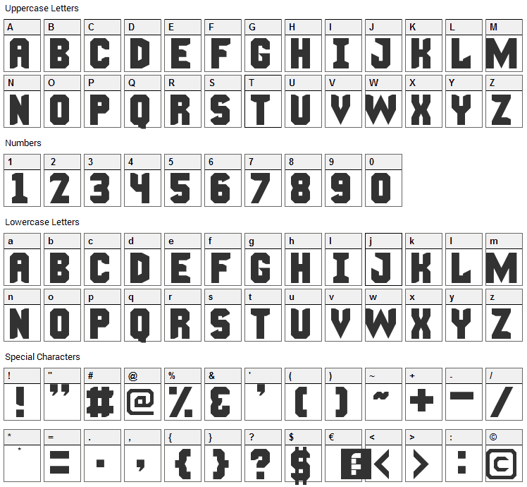 Manly Man Font Character Map