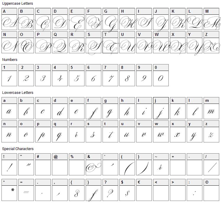 Maratre Font Character Map