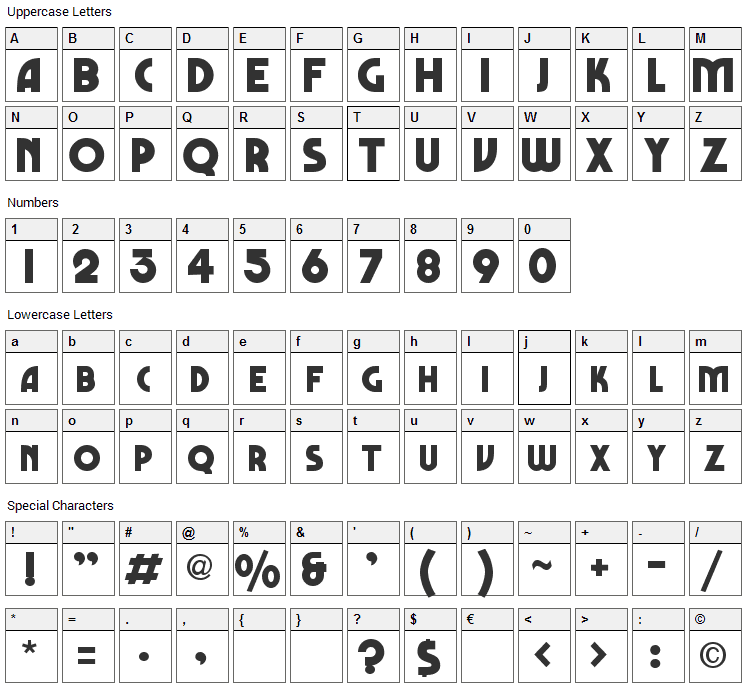 Marbold Font Character Map