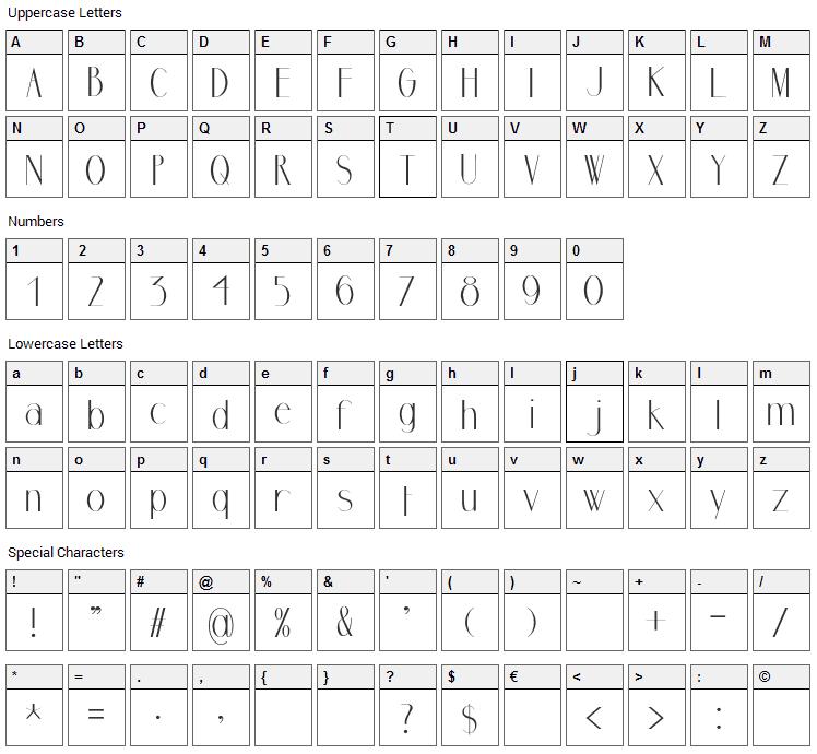 Marbre Sans Font Character Map