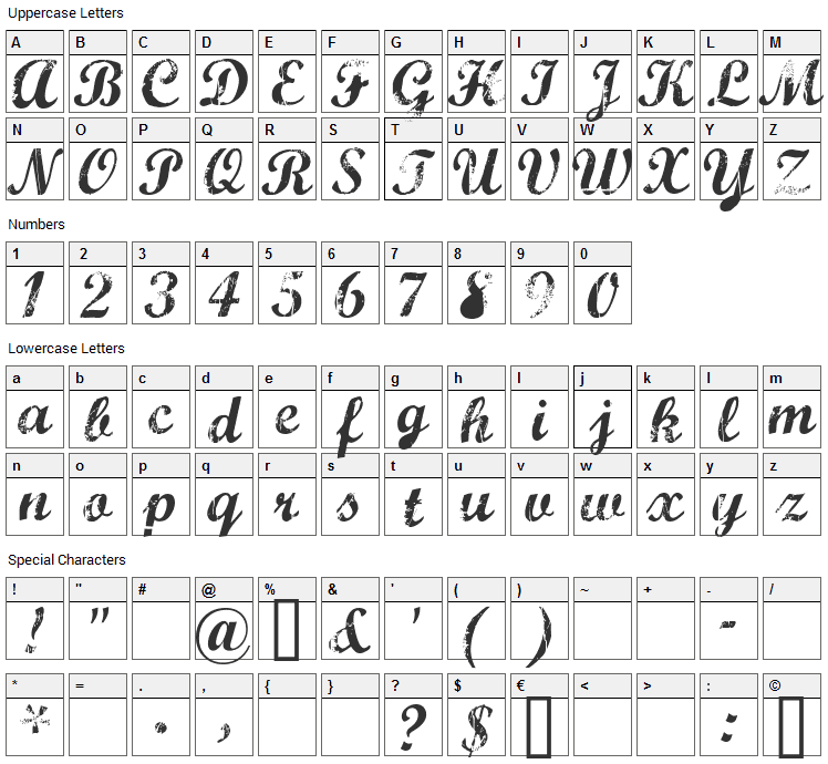 Marcelle Font Character Map
