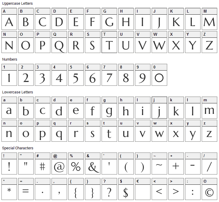 Marcellus Font Character Map