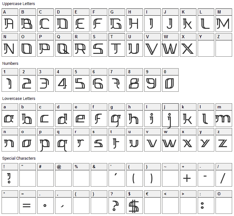 Margarette 01 Font Character Map