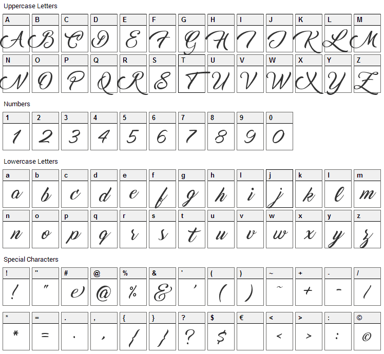 Marguerite Font Character Map