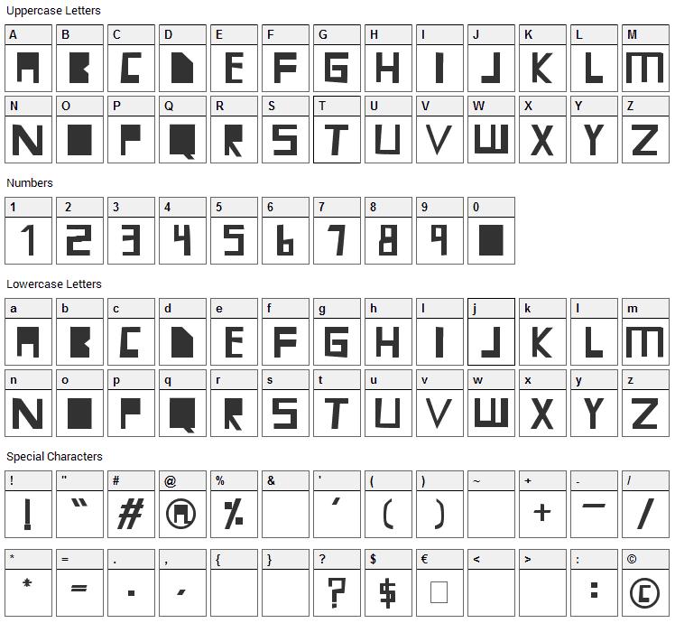 Mari Font Character Map