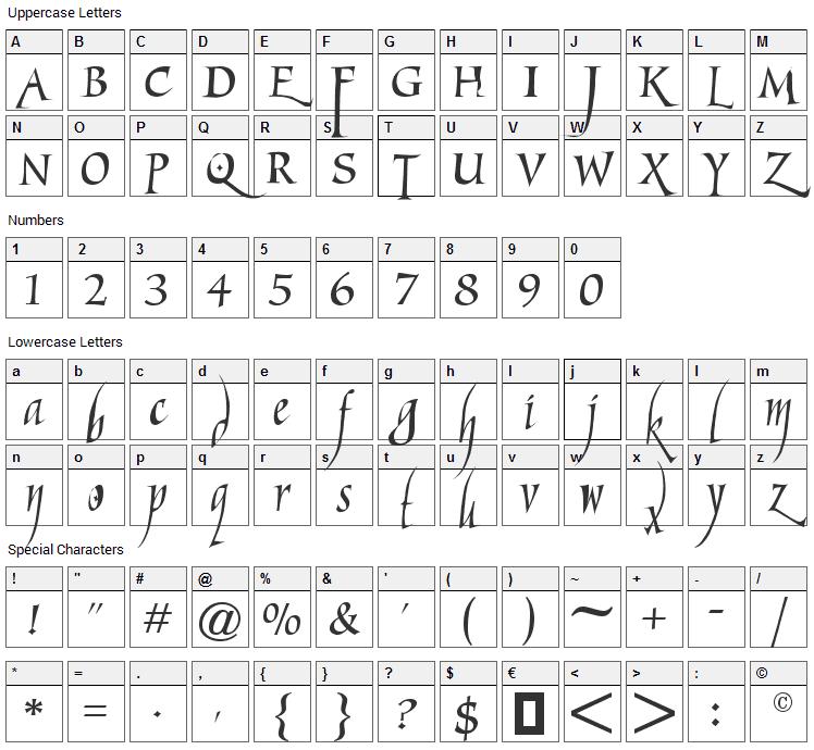Marigold Wild Font Character Map