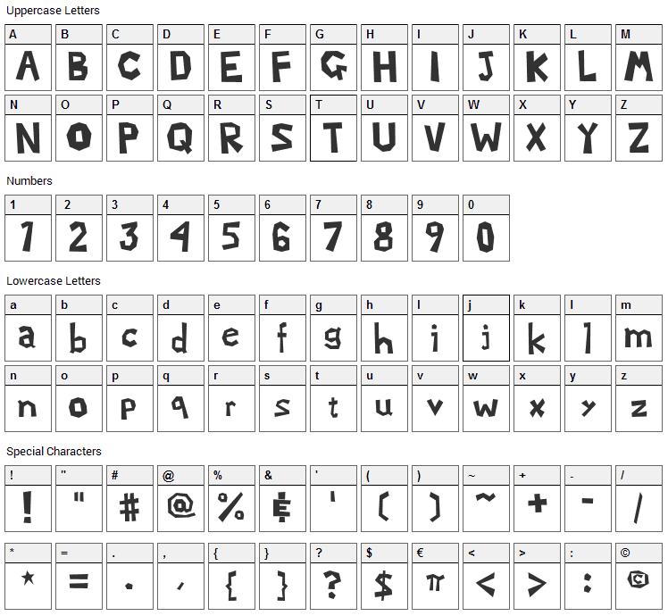 Mario Luigi 2 Font Character Map