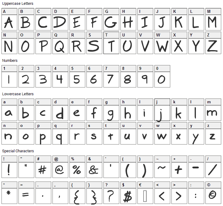 Marker Font Character Map