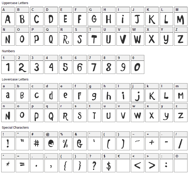 Marker Monkey FW Font Character Map