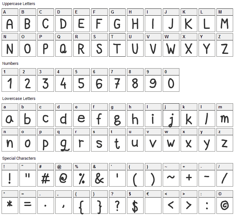 Marker Quick Font Character Map