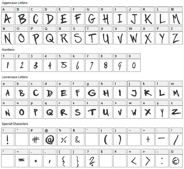 Marker Twins Font Character Map
