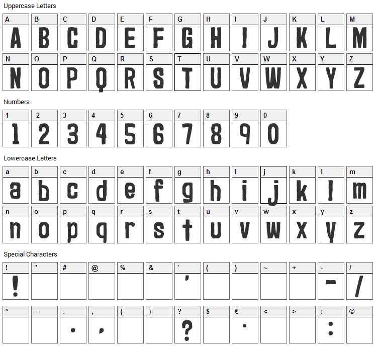 Marker2 Font Character Map