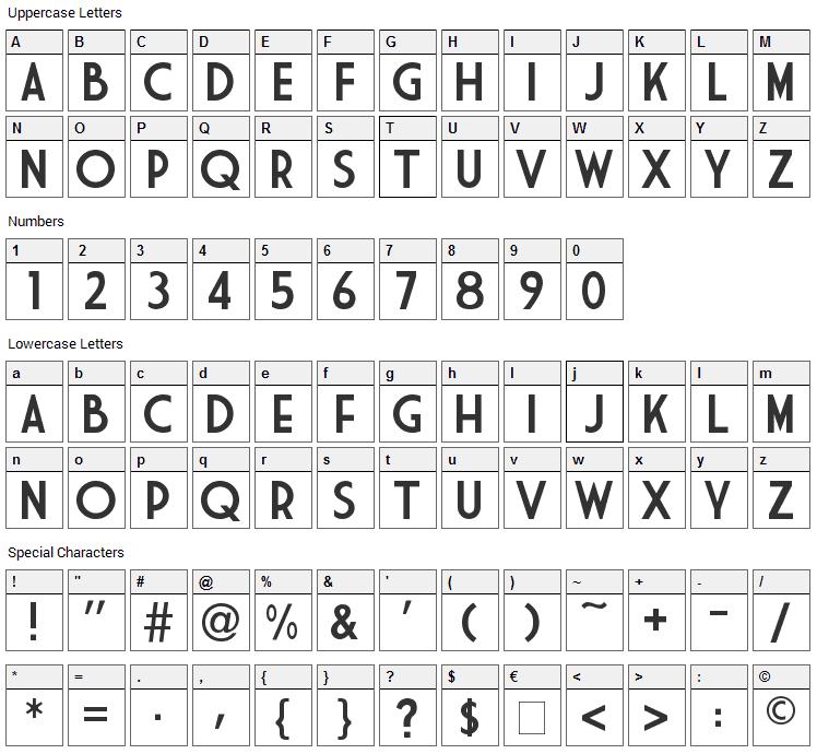 Market Deco Font Character Map