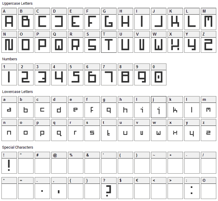 Mars Font Character Map