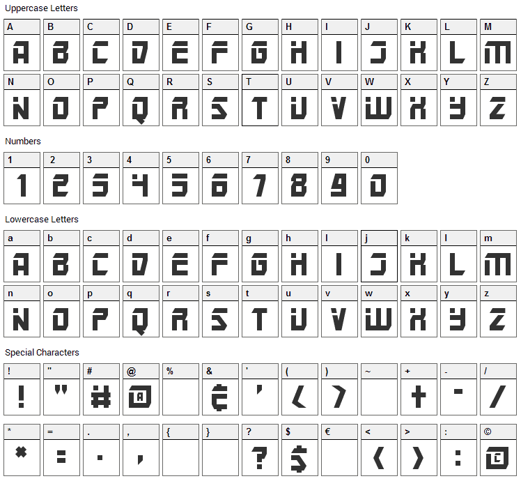 Mars Police Font Character Map