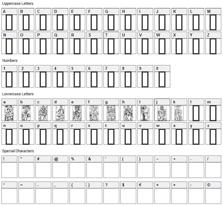 Marseille Tarot Font Character Map