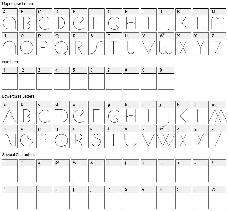 Marte Font Character Map