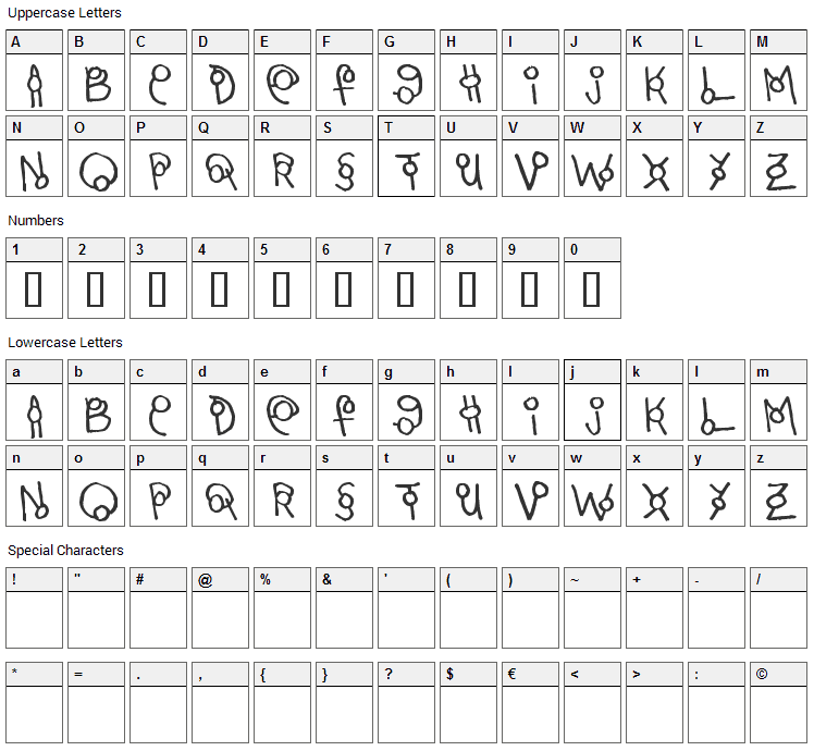 Martini Olive Font Character Map