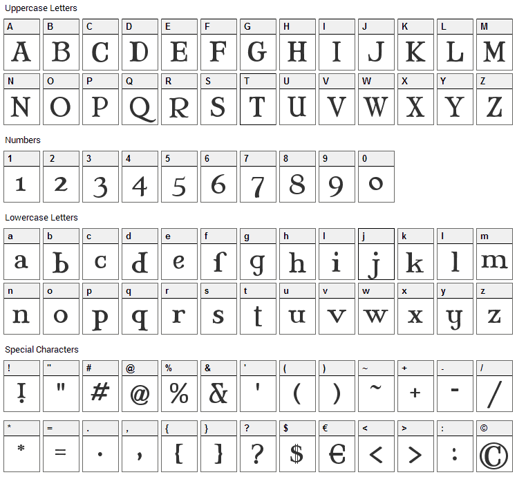 Mary Jane Font Character Map