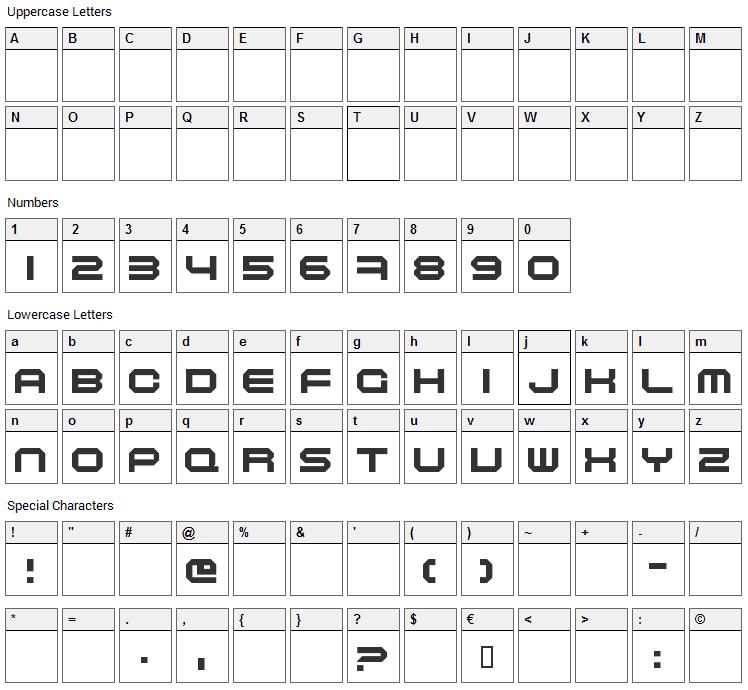 Maschinen Font Character Map