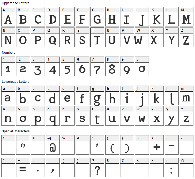 Mashburn Font Character Map