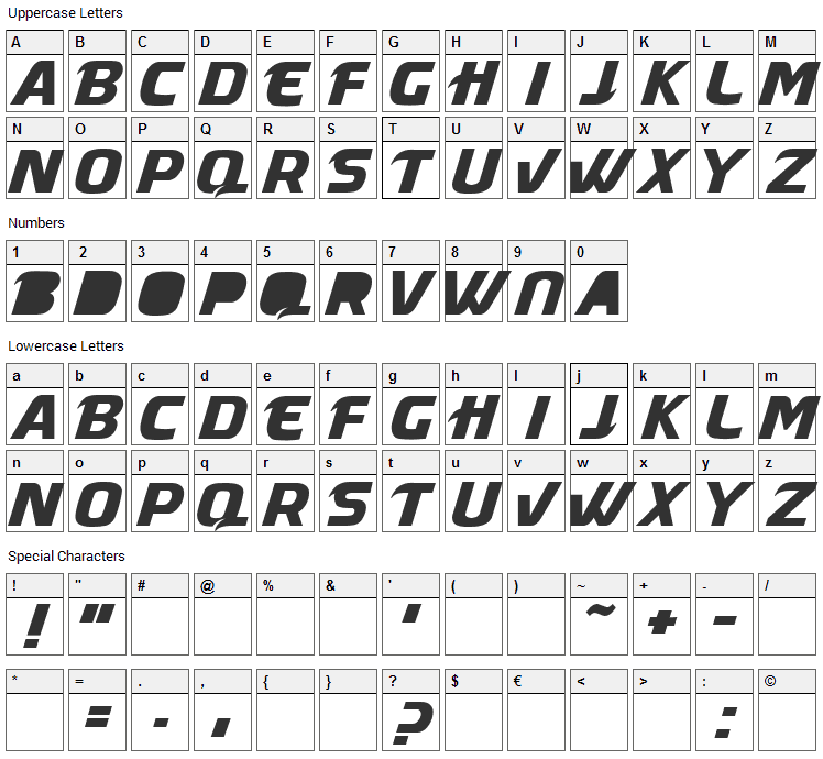 Masque Font Character Map