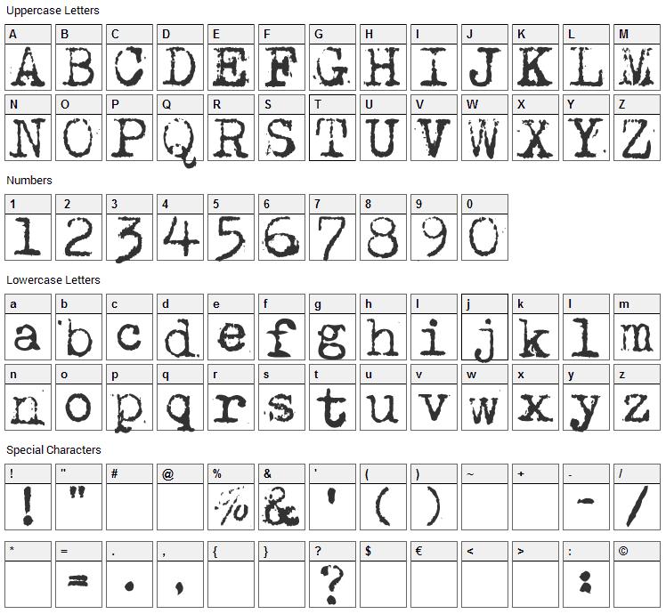 Maszyna Font Character Map