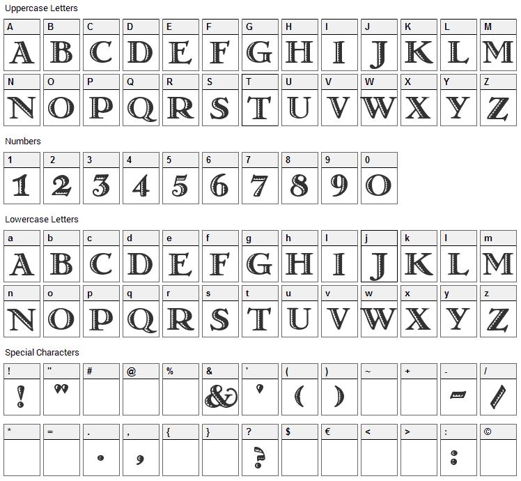 Matador Font Character Map