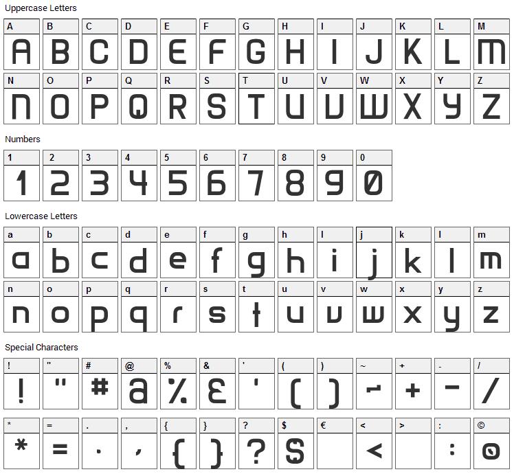 Matamata Font Character Map